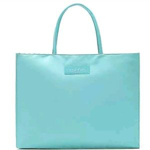 Lancome Paris Light Aqua Polka Dot Tote Bag NWOT